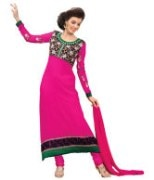 Pink Embroidered Faux Georgette Suit Material