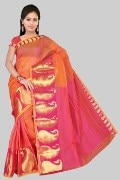 Stylish Orange Color Cotton Saree