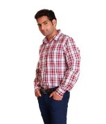Swank Red Full Casuals Checks Shirt