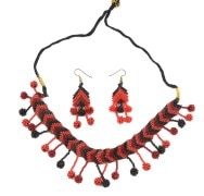 Awesome Jewellery-Dbj1006-Red & Black Beaded Choker With Earring
