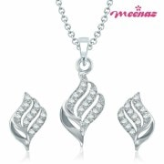 Meenaz -Pt123- Well Crafted Rhodium Plated Cz Pendant Set