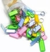 50pcs ASSORTED DOUBLE SIDED KEY CHAIN TAG LABEL LOCKING MULTI COLOR