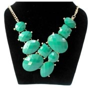 Aza Collection Geometrical- Design Fashion Green Necklace