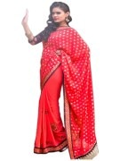 RED COLOUR GEORGETTE SAREE WITH FANCY PALLU GR-8207