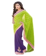 GREEN & PURPLE COLOUR GEORGETTE SAREE WITH FANCY PALLU