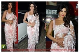 Priyanka chopra pink bollywood replica saree
