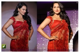 sonakshi sinha Red color Bright net Bollywood Replica Saree