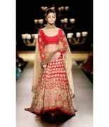 Heavy Bridal Party wear Designer Red Lehenga Choli