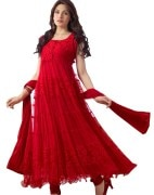 Surti Women Brasso & Net Semi-Stitched Salwar Suit Set (R0001 _Red _Free Size)