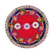Aarav Collection Multi Colored Flower Leaf Rakhi Pooja Thali