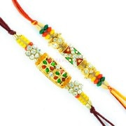 Aarav Collection Graceful Golden Base Diamond, Colorful Beads Rakhi Set
