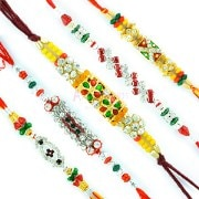Aarav Collection Rakhi Set of 5 - Rakhi Sets