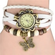 Leather Bracelet Vintage Women Wrist Watch (White)