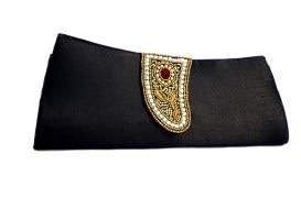 Jugnu Black Tie Clutch