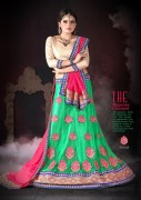 Green & Red Coloured Self Design Women's Lehenga Choli