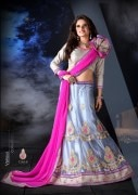 Grey & Pink Coloured Self Design Women's Lehenga Choli
