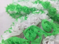 3D Lasercut Georgette Ribbon Embroidered on Net Fabric