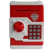 ATM Machine piggy bank for kids open with secret code electronic lock-Red