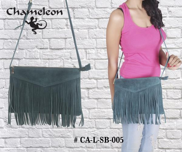 Genuine Leather Sling Bags with Fringes ( Handbags & Purses )