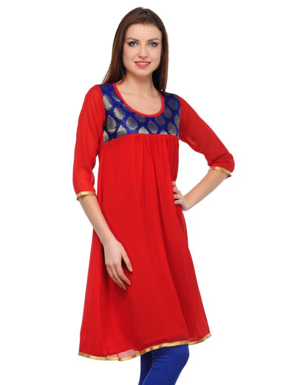 Casual Solid Women's Kurti - Red Blue