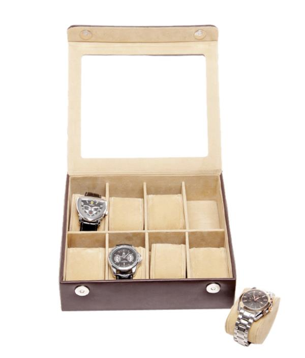 Essart PU Leather Watch Box for 8 watches - Brown