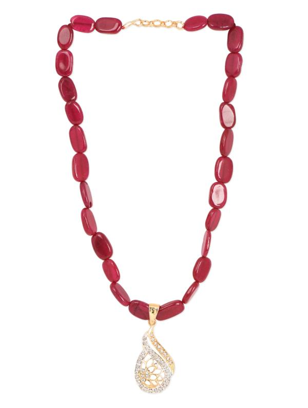 Aradhyaa Jewel Arts-Arl110-Gold Plated  Ruby pendent set