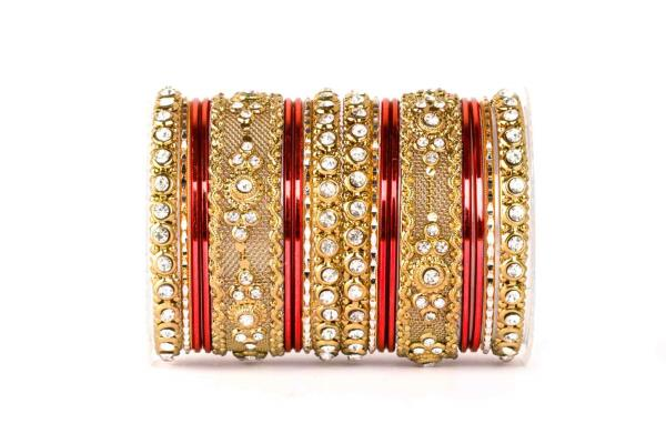 Red colored intricate shining bangle set