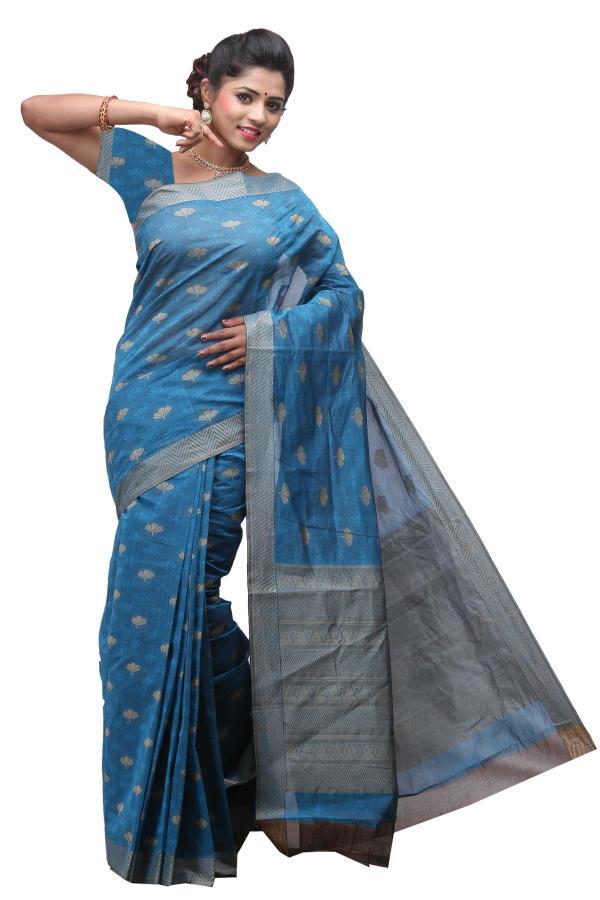 Deepams Blue Color Pure Cotton Saree