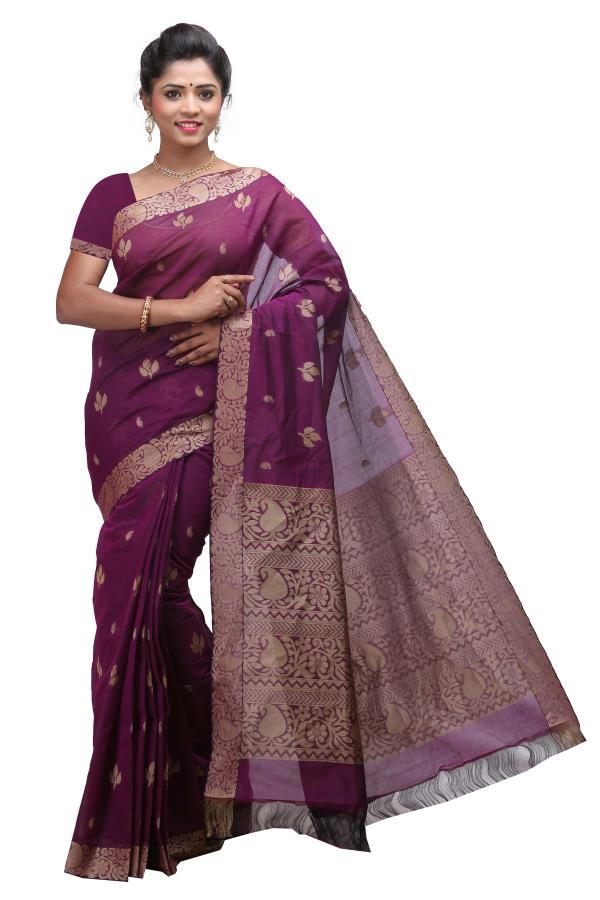 Deepams Maroon Color Pure Cotton Saree