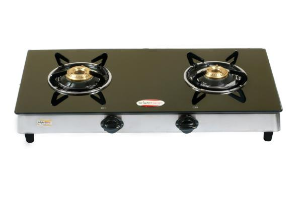 Brightflame 2 Burner Black Glass Stove  - Auto