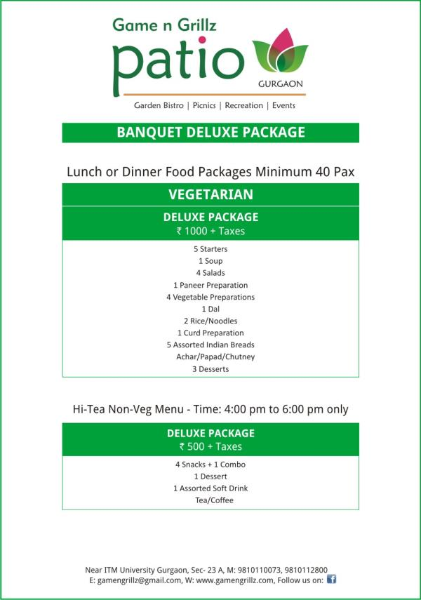 VEGETARIAN PACKAGE @ 1000/-