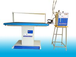 Our Commercial Ironing Machines roller have large diameter with moving ironing chest. This large diameter ensures a long contact surface, flexibility for addition of another roll. Our product is available with powerful and finger guard for operator safety.  1) Tables are converted With  a Washable silicon foam with heat proof cloth 2) Available in single phase and buck attachment(optional) 3)Extract moisture and heat instantly ensuring crease free and dry garments. 4) offer strong vacuum which keeps the garments dry and cools it down rapidly. 5) Designed for full length leg operation so that they can be foot operated from anywhere along their length. 6)Table top consists of hundreds of perforations, causing suction to be instantaneous and extremely powerful.   Note: Picture and prices may vary based on models