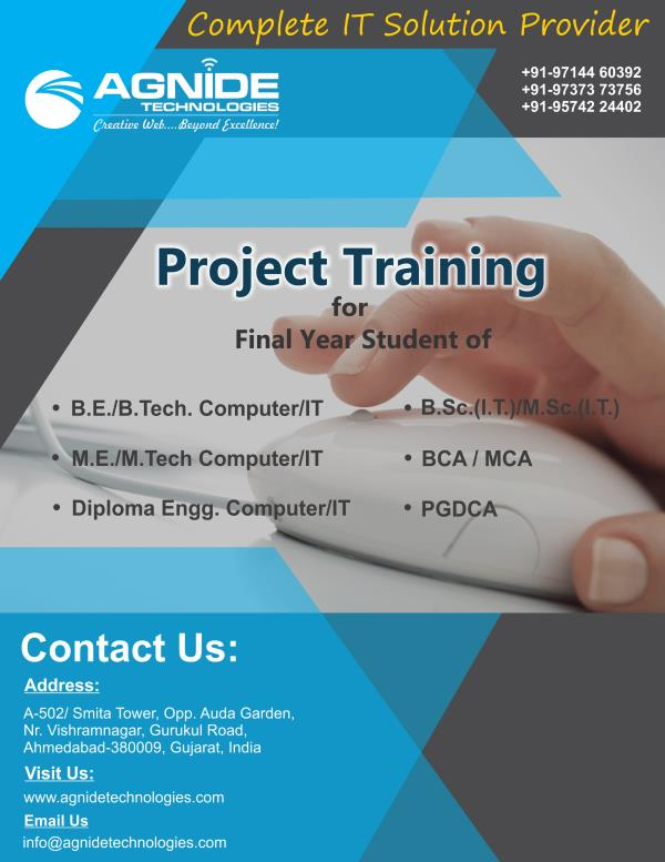 Final Year project Training Provider in Ahmedabad, Gujarat, India.