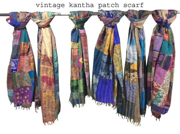 Kantha Silk Scarf Handmade Stole Patchwork In Wholesale Lot Wrap In Bulk Quantity
