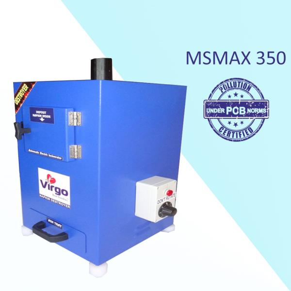 We have gained a most appreciated acclaim in the industry for Manufacturing, Trading and Wholesaling of PCB Norms Followed Automatic Electric Napkin Destroyer with good Quality but Cheap Cost to our honored customers. Our fabricated Virgo Electric Napkin Destroyer is fully compact and completely follows under the guidance of POLLUTION CONTROL BOARD manufacturing norms.Advantages (When Virgo Disposal):Stress-free for working womenReduces plastic bag usageAvoid blockages in toilet plumbingAvoid waterway pollutionAvoid drainage line chock-ups.Saving water and healthy environmentEco-FriendlyReduce absence of school and college students.Disadvantages (When Normal Disposal):Drainage line chock-upsHealth related problemsPeriodically cleaning of drainageAd smellBlockage in sewage lineWastage of clean water in the toiletsWhat We Use:Disposal of sanitary towelFeminine sanitary productsFemale hygiene pads and sanitary padsMaternity sanitary pads and menstruation period padsFeatures:Wall mountable.Powder coated Mild steel / Stainless steel bodyLCD display with temperature and time indicationDouble wall ceramic board technology 'PUF' insulationEasy removing Ash collecting tray ensures cleanliness.Big door open makes it convenient to load used napkins.The Heater of high power makes the temperature rise quickly and improves the efficiency.Double stage computer programmed control panel gives Long life for the heater and reduce the electricity bill.Available with the size of 50, 100, 200 and 500 napkins per day.Standard Specification:Model:	MSMAX350 (Sensor)No of person can use (Day Use)	Regular 	350Large 	300No of napkin storage	15Napkin Burning / Day	180Heating	ElectricBody Type  Material	MS CRCA IS513D GradeHeater power	1200 WDimension are in MM	255 x 305 x 485Price in INR	19999