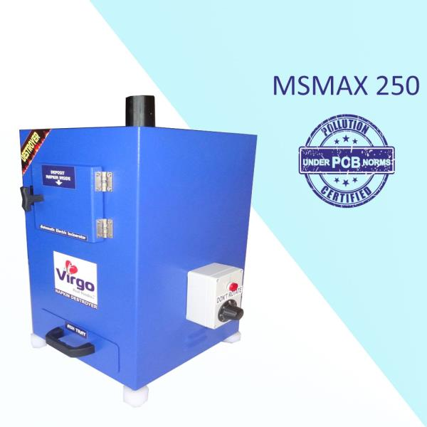 We are prominent Automatic Electric Napkin Incinerator Manufacturer in India which has Best Quality with minimal Cost. We provide this Napkin Incinerator to our customers in different sizes, designs and specifications.Advantages (When Virgo Disposal):•	Stress free for women•	Reduces plastic bag usage•	Avoid blockages in toilet plumbing•	Avoid waterway pollution•	Avoid drainage line chock UPS•	Saving water and healthy environment•	Wall Mountable•	Eco Friendly•	Easy InstallationDisadvantages (When Normal Disposal):•	Drainage line chock-ups•	Health related problems•	Periodically cleaning of drainage•	Ad smell•	Blockage in sewerage line•	Wastage of clean water in the toiletsWhat We Use:•	Disposal of sanitary towel•	Feminine sanitary products•	Female hygiene pads and sanitary pads•	Maternity sanitary pads and menstruation period padsFeatures:•	Wall mountable.•	Powder coated Mild steel / Stainless steel body•	LCD display with temperature and time indication•	Double wall ceramic board technology 'PUF' insulation•	Easy removing Ash collecting tray ensures cleanliness.•	Big door open makes it convenient to load used napkins.•	Heater of high power makes the temperature rise quickly and improves the efficiency.•	Double stage computer programmed control panel gives Long life for heater and reduce the electricity bill.•	Available with size of 50, 100, 200 and 500 napkins per day. Standard Specification:Napkin Destroyer Model Name: MSMAX 250Model:  MSMAX 250No of person can use (Day Use)Regular: 250Large: 200No of napkin storage: 12Napkin Burning / Day: 140Heating: ElectricBody Type Material: MS CRCA IS1513D GradeHeater power: 1200 WDimensions are in MM:	240 x 290 x 485Price in INR:	16999