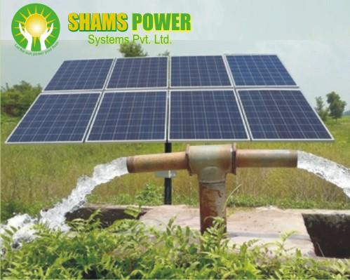 	Solar Panels: Polycrystalline Silicon, 300 Wp - 16 Nos        Efficiency: >15%, IEC Certified, with 5 years warranty, 	Solar Pump Controller: Solar Pump Controller with MPPT         charging, DC MCB & ON-OFF Switch. IP 54, with 5 years warranty	Solar Water Pump: 5 hp, 3 ph, 50 Hz (220/380/415 V)	Module Mounting Structure: Hot Dip Galvanised, Fixed  Type         (Optional tracking)    	Cables, Pipes, Connector & accessories	Earthing GI  	Installation IncludedTerms & Conditions:Price: Ex works – Pune, including , installation and  Commissioning of the system.Digging, Concrete work, Pipes, Plumbing accessories and submersible cable will be charged ExtraForwarding  & Transport will be ExtraPayment Terms: 50 % Advance, 40 % against material delivery, 10% after installationExpected Water Pumping by This System:(Head  (mtrs) - Water Discharge (cu mtr))(20 - 185), (30 - 125), (40 - 95), (50 - 75), (75 - 50), (100 - 35)     Payback Period is 4-5 YearsArea required for PV panel installation is 500-600 sq ft facing south direction and without shadows between 9 am to 5 pm.