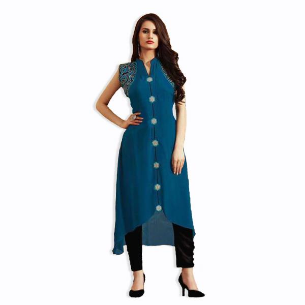 Stitched Blue Georgette Full Length Kurti/Tunic/Top