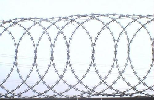 Product Description:Our offered Razor Wire can be custom-made to improve your perimeter security and are widely used for barricading areas around switch yards, power plants, petrochemical complexes, steel plants, stockyards, industrial establishments, township, airports, mines etc., where both unplanned as well as forced entry needs to be prohibited. Product Details:All weather proofSuperior deterrenceHigh resistance to corrosionUtmost protectionSuperior coating systemCan withstand pressure