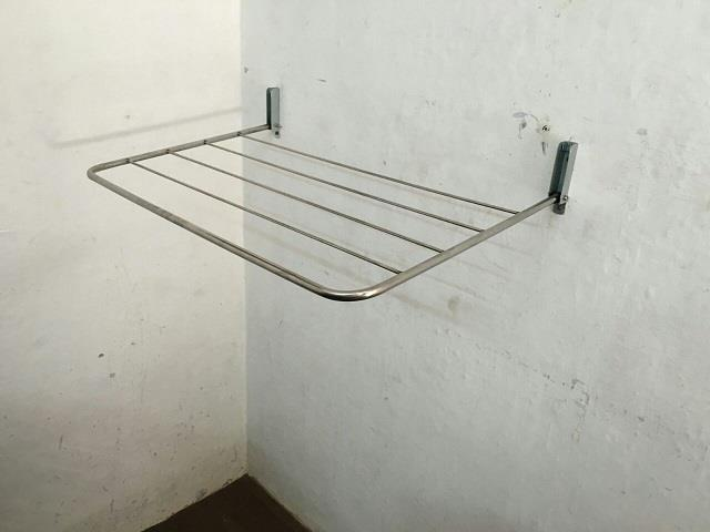 Rust proof stainless steel construction. Wall mounting at your convenient height Maintenance free & space saving.  After use, hanger can be pushed back to wall.  Ideal for bathroom / wash basing towel rods / hostels. OPTION – 3 & 5 Lines                    Length: 2 ft. to 5 ft.