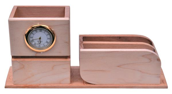 Wooden Desk Top with clock