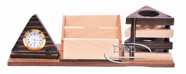 DW 5500 Wooden Pen Stand with Clock