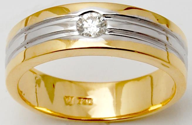 Two Tone Gold Flush Set Diamond Engagement Band For Man Under 1000 USD