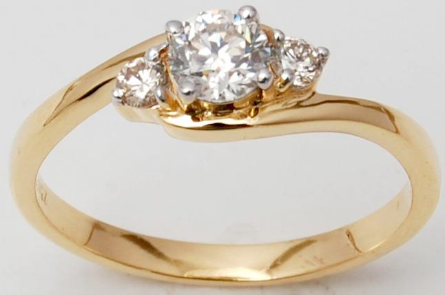 Three Diamond Yellow Gold Bypass Promise Ring