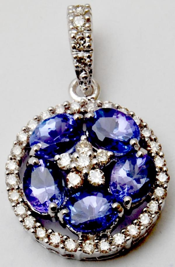14k White gold Oval Tanzanite studded flower with Diamond Halo Pendant