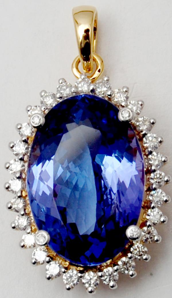 Blue Tanzanite Big Oval with Halo Diamond Pendant On Sale
