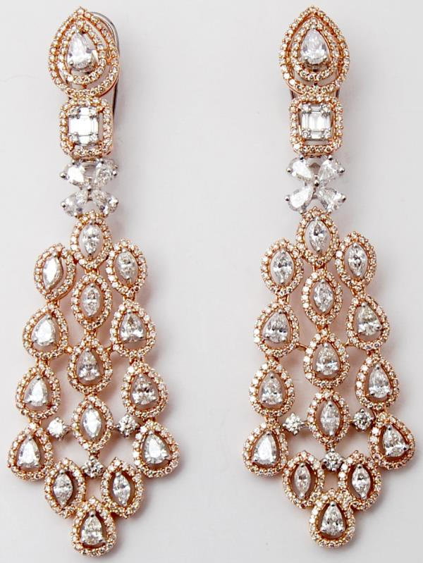Rose Gold High Jewellery Pear Diamond Heavy Earrings
