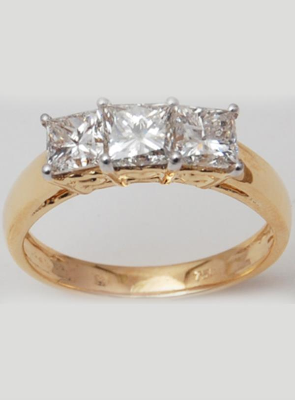 Princess Cut Three Stone Yellow Gold Wedding Ring for women
