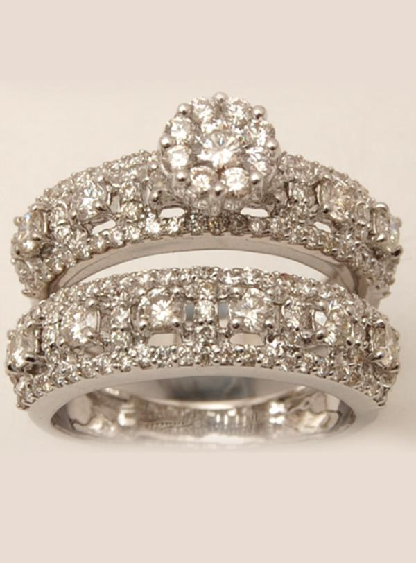 Diamond Studded Cluster Couple Wedding Ring Designs