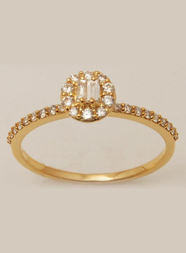 Sleek Solitaire Style Stone Studded Shank Gold Ring Under 250 $